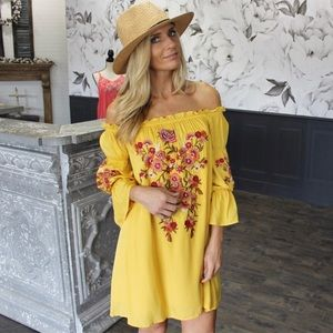 Infinity Raine Embroidered Off Shoulder Dress